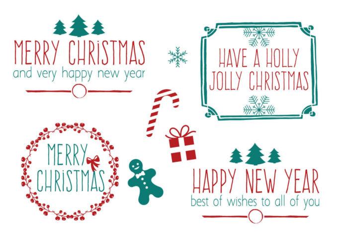 フォトショップ ブラシ 無料 クリスマス ラベル テキスト Photoshop Christmas Label Brush Free abr Hand Drawn Style Christmas Brush Set