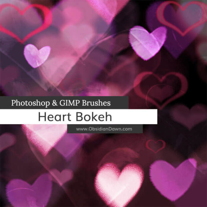 Photoshop Bokeh Brush フォトショップ ブラシ 無料 ボケ 玉ボケ Heart Bokeh Photoshop and GIMP Brushes
