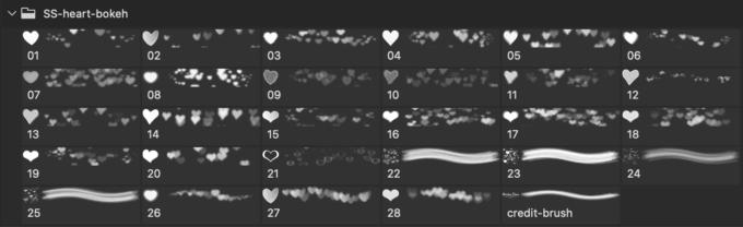 フォトショップ ブラシ 無料 ハート Photoshop Heart Brush Free abr Heart Bokeh Photoshop and GIMP Brushes