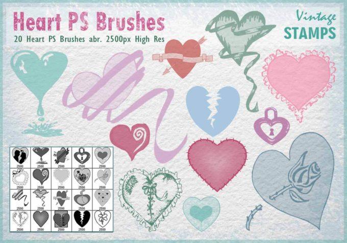 フォトショップ ブラシ 無料 ハート Photoshop Heart Brush Free abr Heart PS Brushes