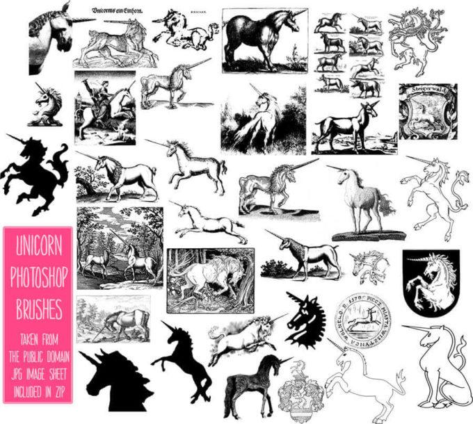 フォトショップ ブラシ Photoshop Unicorn Brush 無料 イラスト ユニコーン PS Brushes: Unicorns