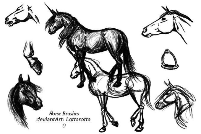 フォトショップ ブラシ Photoshop Horse Brush 無料 イラスト 馬 ホース Horse Brushes