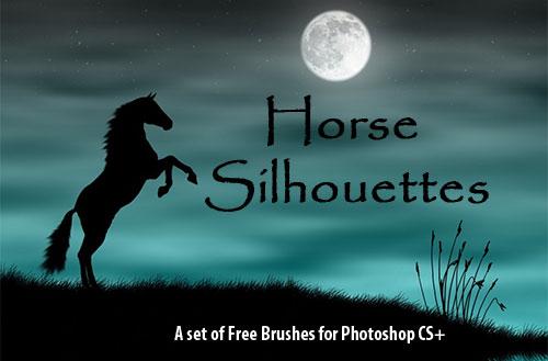 フォトショップ ブラシ Photoshop Horse Brush 無料 イラスト 馬 ホース 25 Horse Silhouettes Photoshop Brushes