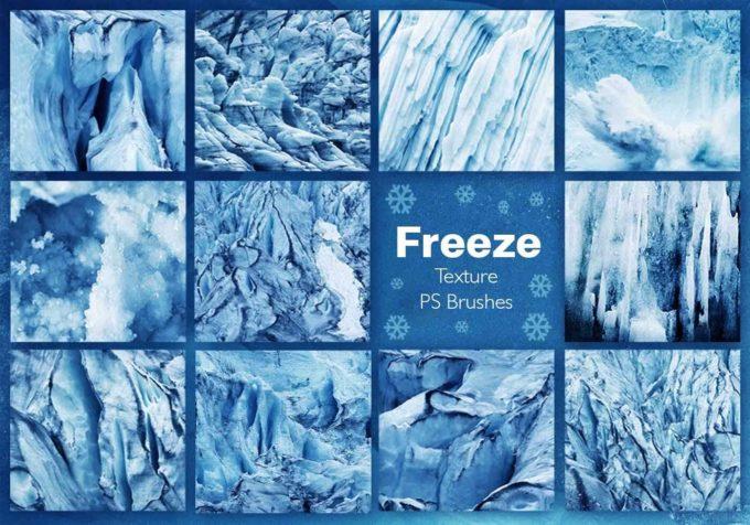 フォトショップ ブラシ Photoshop Brush 無料 イラスト クリスマス 聖夜 冬 雪 スノーフレーク 結晶 Ice Freeze Texture PS Brushes