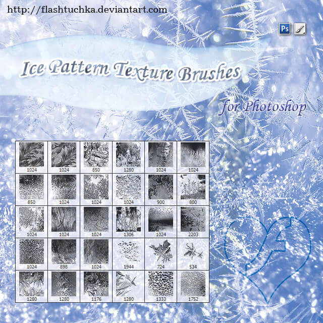 フォトショップ ブラシ Photoshop Ice Brush 無料 イラスト 氷 アイス Ice Patterns Texture Brushes