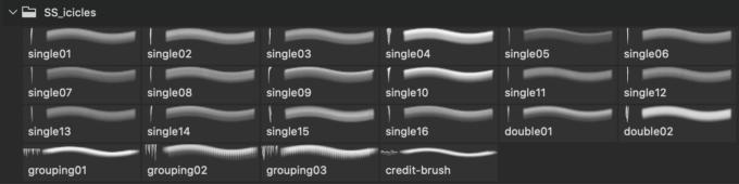 フォトショップ ブラシ Photoshop Ice Frozen Brush 無料 イラスト 氷 つらら アイス Icicles Photoshop and GIMP Brushes