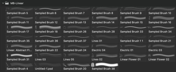 フォトショップ ブラシ Photoshop Brush 無料 イラスト 光 ビーム グリッター スパーク パーティクル MB-Linear