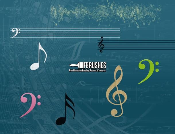 フォトショップ ブラシ Photoshop Music Note Brush 無料 イラスト 音楽  音符 楽譜 譜面 Music