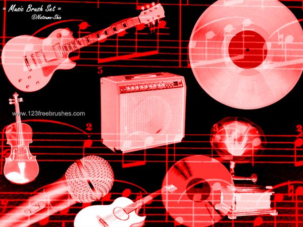 フォトショップ ブラシ Photoshop Musical instrument Brush 無料 イラスト 音楽 楽器 Musical Instruments Guitars