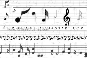 フォトショップ ブラシ Photoshop Music Note Brush 無料 イラスト 音楽  音符 楽譜 譜面 Musical Notes 24