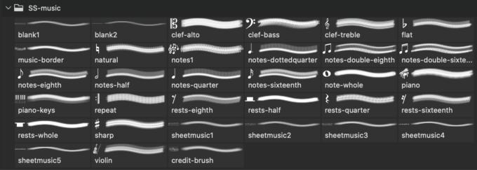 フォトショップ ブラシ Photoshop Music Note Brush 無料 イラスト 音楽  音符 楽譜 譜面 Music Photoshop and GIMP Brushes