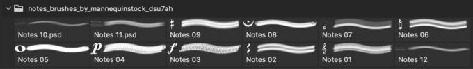 フォトショップ ブラシ Photoshop Music Note Brush 無料 イラスト 音楽  音符 楽譜 譜面 Notes Brushes