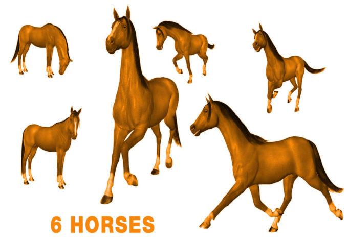 フォトショップ ブラシ Photoshop Horse Brush 無料 イラスト 馬 ホース 6 HORSE BRUSHES
