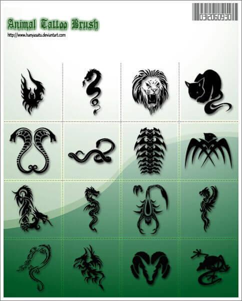 フォトショップ ブラシ Photoshop Tattoo Brush Free abr 無料 イラスト タトゥー 模様 柄 刺青 Animal tattoo