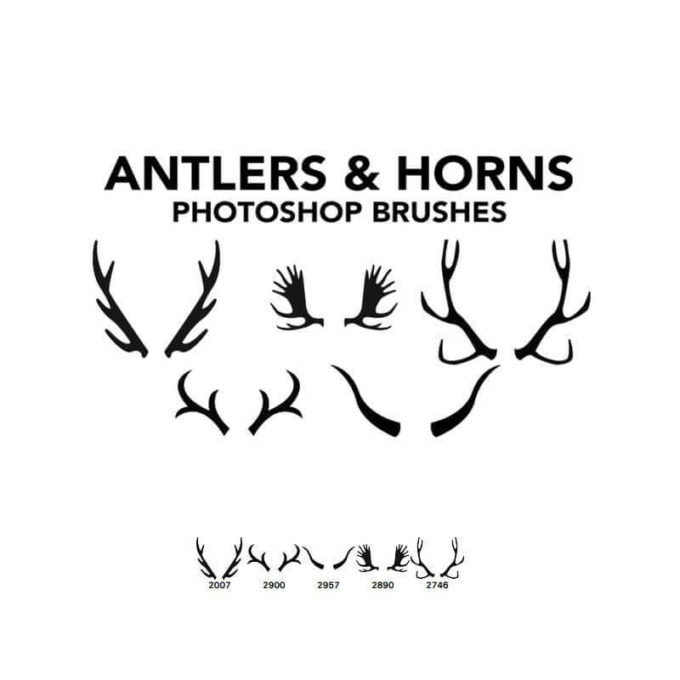 フォトショップ ブラシ 無料 クリスマス トナカイ 鹿 Photoshop Christmas ice Brush Free abr Antlers and Horns 5 Photoshop Brushes