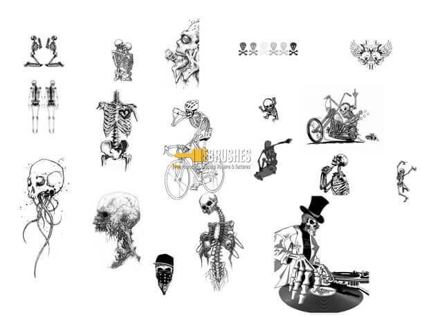 フォトショップ ブラシ Photoshop Skeleton Brush 無料 イラスト スカル 骸骨 ガイコツ スケルトン  Bad to the Bone