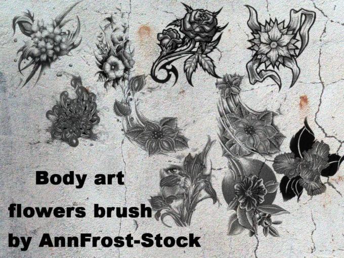 フォトショップ ブラシ Photoshop Tattoo Brush Free abr 無料 イラスト タトゥー 模様 柄 刺青 Body art flowers brush set