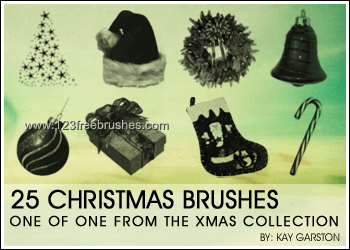 フォトショップ ブラシ 無料 クリスマス オーナメント 飾り 無料 Photoshop Christmas Ornament Brush Free abr Christmas Tree – Santa Hat – Wreath – Bell – Candy Cane