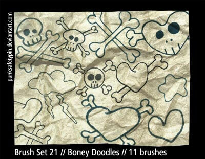 フォトショップ ブラシ Photoshop Skeleton Brush 無料 イラスト スカル 骸骨 ガイコツ スケルトン Skull and Crossbones Brush Set