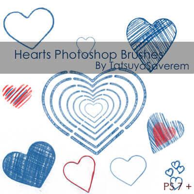 フォトショップ ブラシ 無料 ハート Photoshop Heart Brush Free abr Photoshop Brushes- Hearts