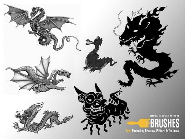 フォトショップ ブラシ Photoshop Dragon Brush Free abr 無料 イラスト ドラゴン 竜 龍 Dragons