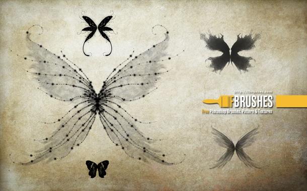 フォトショップ ブラシ Photoshop Butterfly Brush 無料 イラスト 蝶 Unreal-Wings