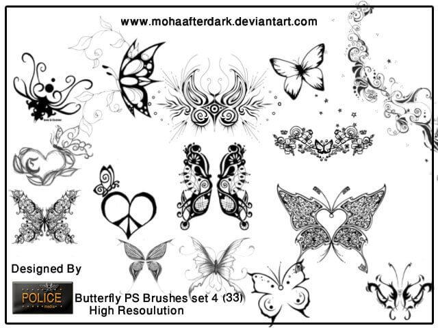 フォトショップ ブラシ Photoshop Tattoo Brush Free abr 無料 イラスト タトゥー 模様 柄 刺青 蝶 バタフライ butterfly brushes set4