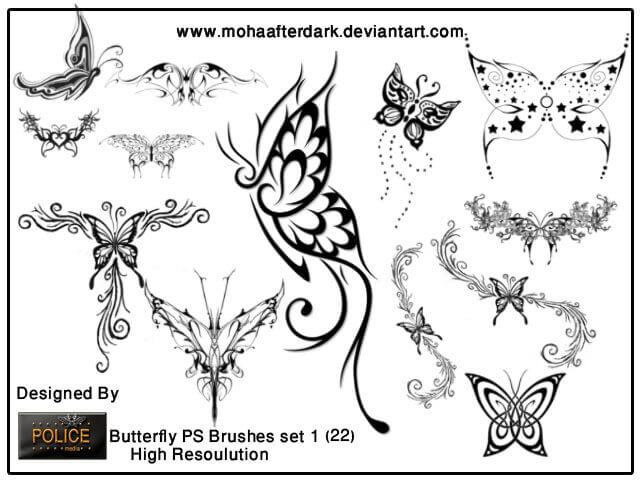 フォトショップ ブラシ Photoshop Tattoo Brush Free abr 無料 イラスト タトゥー 模様 柄 刺青 蝶 バタフライ butterfly brushes set1