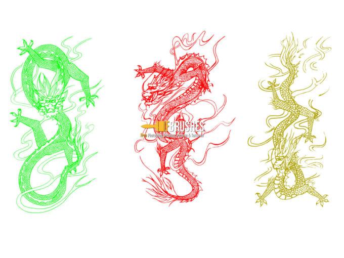 フォトショップ ブラシ Photoshop Dragon Brush Free abr 無料 イラスト ドラゴン 竜 龍 Chinese Dragons