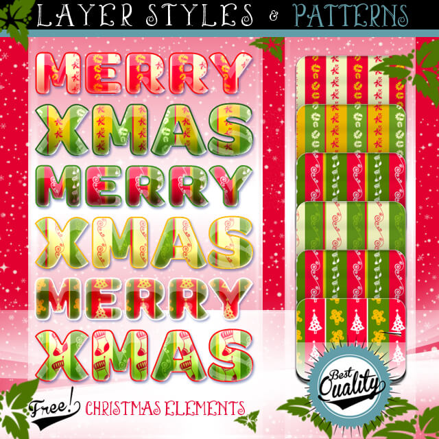 Photoshop Christmas Layer Style フォトショップ クリスマス レイヤースタイル