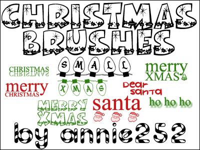 フォトショップ ブラシ 無料 クリスマス ラベル テキスト Photoshop Christmas Label Brush Free abr Christmas Brushes01