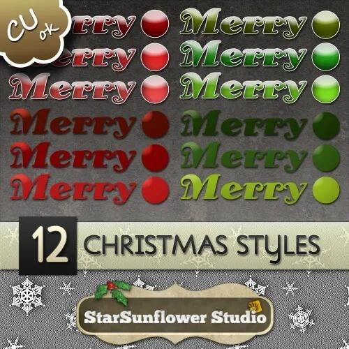 Photoshop Christmas Layer Style フォトショップ クリスマス レイヤースタイル 512 CU Christmas Layer Styles