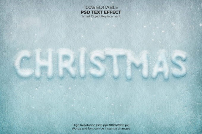 Photoshop Christmas Text Effect Xmas フォトショップ クリスマス テキストエフェクト Christmas frost text effect Free Psd