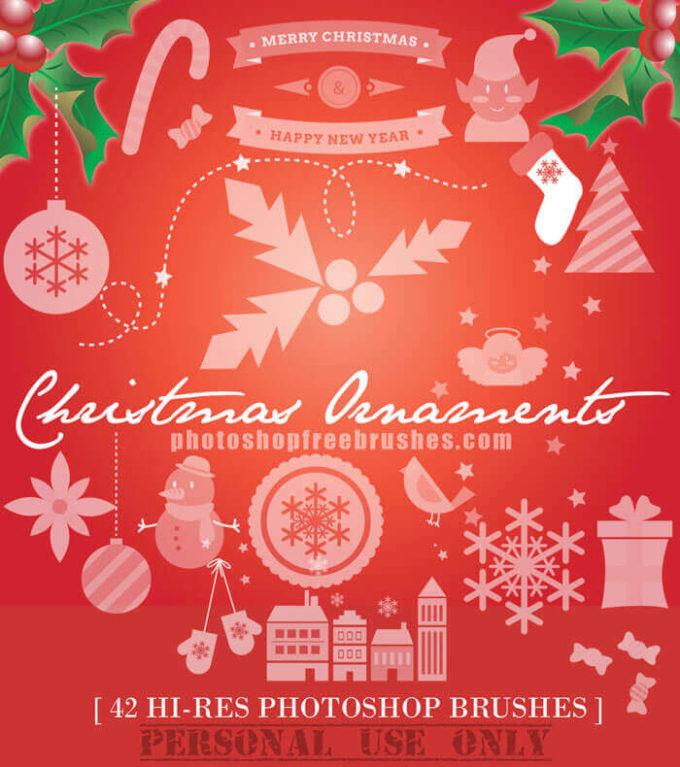 フォトショップ ブラシ 無料 クリスマス サンクロース 聖夜 Photoshop Santa Claus Brush Free abr Christmas Ornaments: 42- Hi-Res PS Brushes