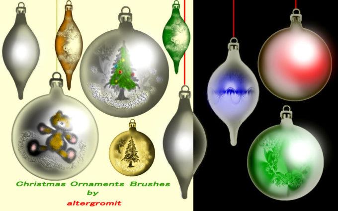 フォトショップ ブラシ 無料 クリスマス オーナメント 飾り 無料 Photoshop Christmas Ornament Brush Free abr Christmas Ornaments Brushes