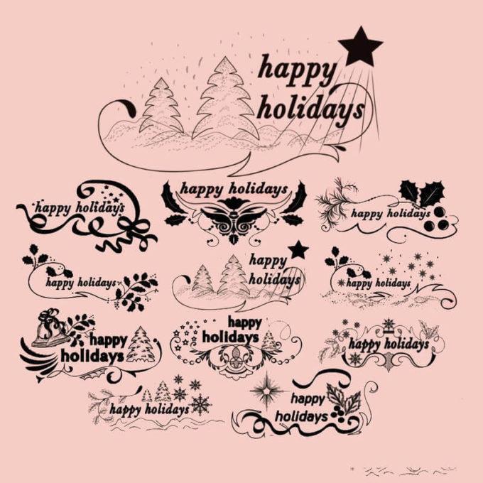 フォトショップ ブラシ 無料 クリスマス ラベル テキスト Photoshop Christmas Label Brush Free abr Christmas Text Brushes