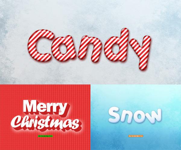 Photoshop Christmas Text Effect Xmas フォトショップ クリスマス テキストエフェクト TEXT EFFECTSChristmas Text Styles Free PSD