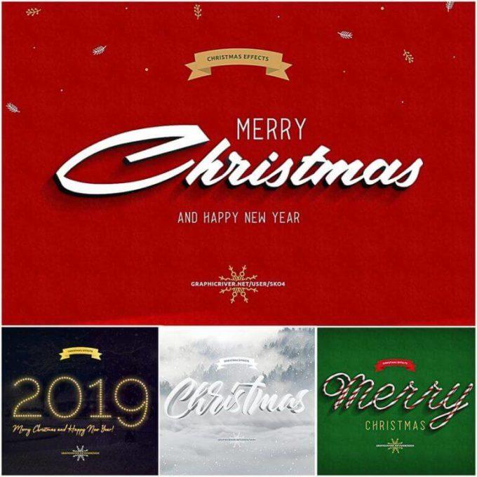 Photoshop Christmas Text Effect Xmas フォトショップ クリスマス テキストエフェクト CHRISTMAS TEXT EFFECTS