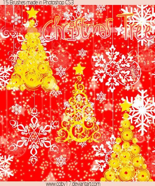 フォトショップ ブラシ 無料 クリスマス  クリスマスツリー Photoshop Christmas Tree Brush Free abr Christmas Tree Brushes