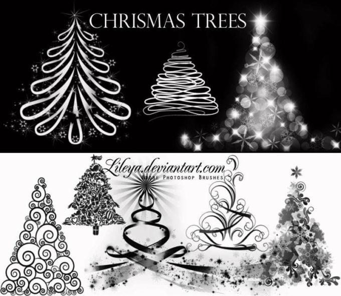 フォトショップ ブラシ 無料 クリスマス サンクロース 聖夜 Photoshop Santa Claus Brush Free abr Christmas Tree brushes