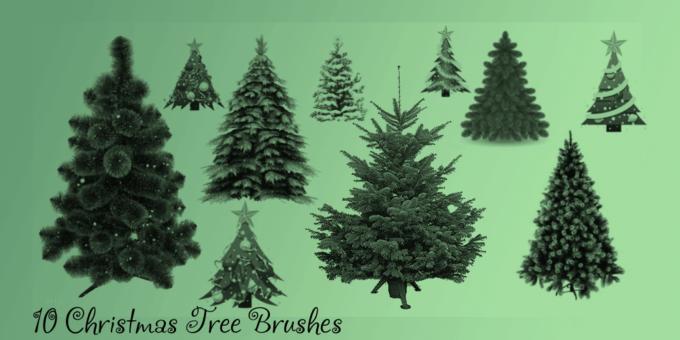 フォトショップ ブラシ 無料 クリスマス  クリスマスツリー Photoshop Christmas Tree Brush Free abr Christmas Tree Brush Set