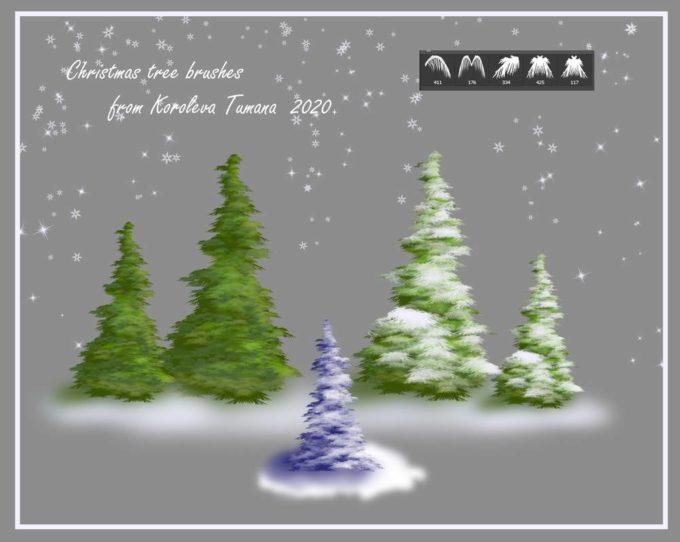フォトショップ ブラシ 無料 クリスマス  クリスマスツリー Photoshop Christmas Tree Brush Free abr Christmas tree brushes from KT