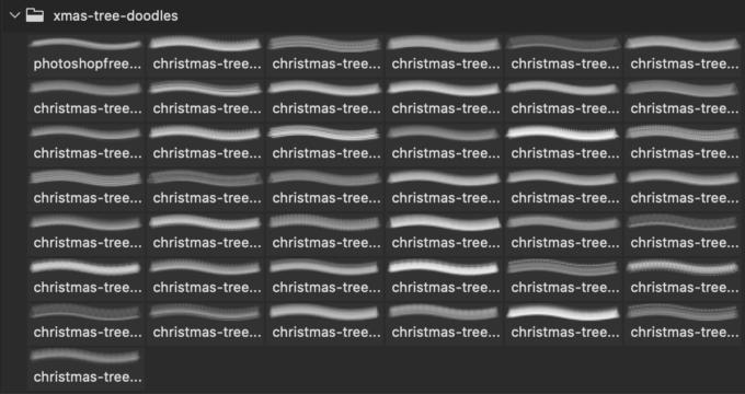 フォトショップ ブラシ Photoshop Brush 無料 イラスト クリスマス 聖夜 サンタ テキスト Free PS Brushes: Christmas Tree Doodles