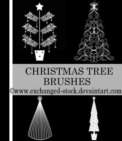 フォトショップ ブラシ 無料 クリスマス  クリスマスツリー Photoshop Christmas Tree Brush Free abr Christmas TwEeE Brushes
