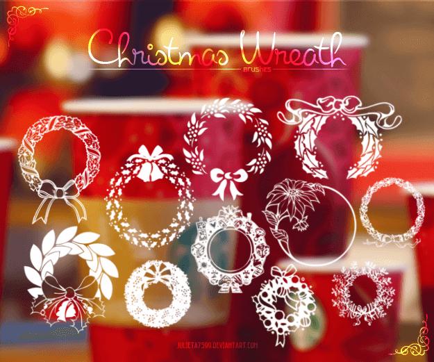 フォトショップ ブラシ 無料 クリスマス  リース Photoshop Christmas Wreath Brush Free abr Christmas Wreath Brushes