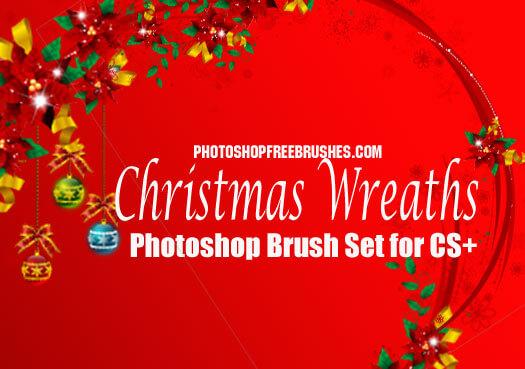 フォトショップ ブラシ 無料 リース Photoshop Wreath Brush Free abr 16 Christmas wreaths Photoshop brushes
