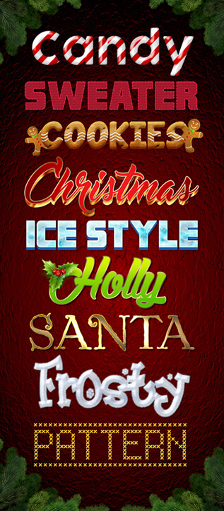 Photoshop Christmas Text Effect Xmas フォトショップ クリスマス テキストエフェクト FREE CHRISTMAS STYLE IN PSD