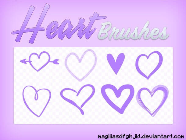 フォトショップ ブラシ 無料 ハート Photoshop Heart Brush Free abr Cute Hearts