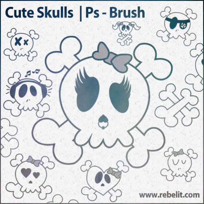 フォトショップ ブラシ Photoshop Skeleton Brush 無料 イラスト スカル 骸骨 ガイコツ スケルトン Cute Skulls