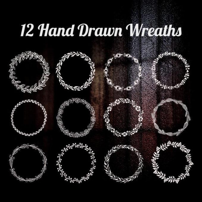 フォトショップ ブラシ 無料 クリスマス  リース Photoshop Christmas Wreath Brush Free abr 12 Hand Drawn Wreaths